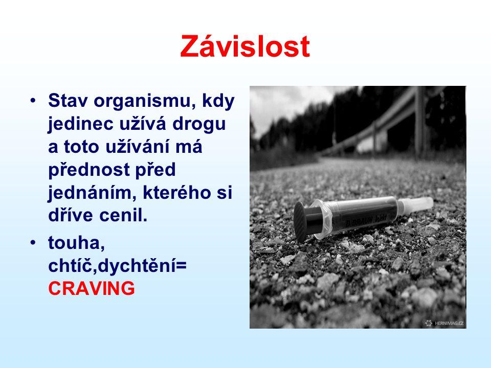 Závislost Stav organismu, kdy jedinec užívá drogu a toto užívání má přednost před jednáním, kterého si dříve cenil.