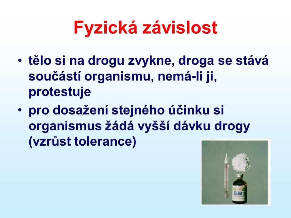 Fyzická závislost tělo si na drogu zvykne, droga se stává součástí organismu, nemá-li ji, protestuje.