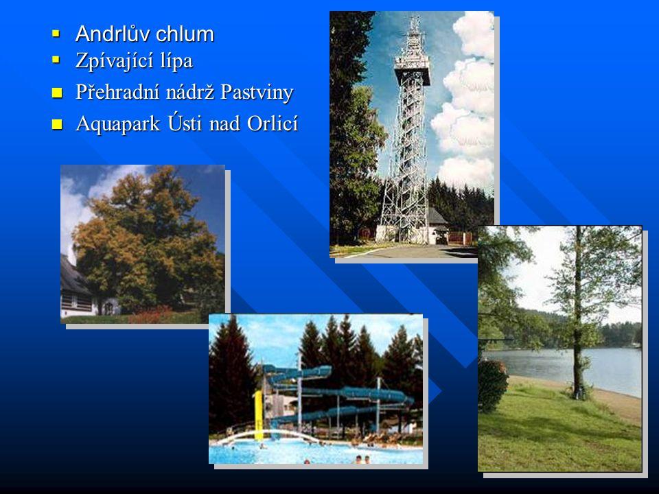 Andrlův chlum Zpívající lípa Přehradní nádrž Pastviny Aquapark Ústi nad Orlicí