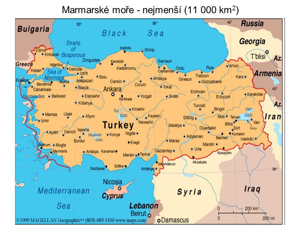 Marmarské moře - nejmenší (11 000 km2)