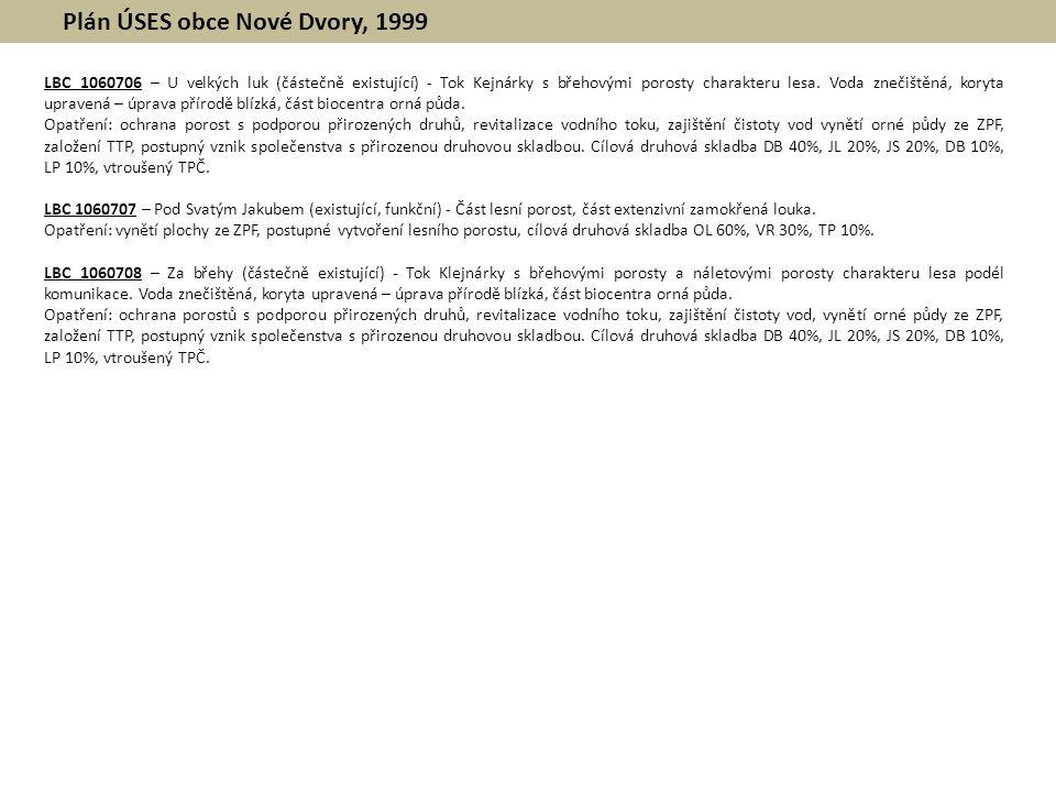 Plán ÚSES obce Nové Dvory, 1999