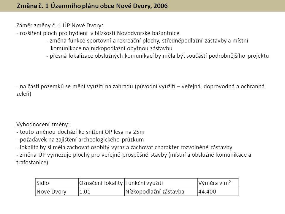 Změna č. 1 Územního plánu obce Nové Dvory, 2006