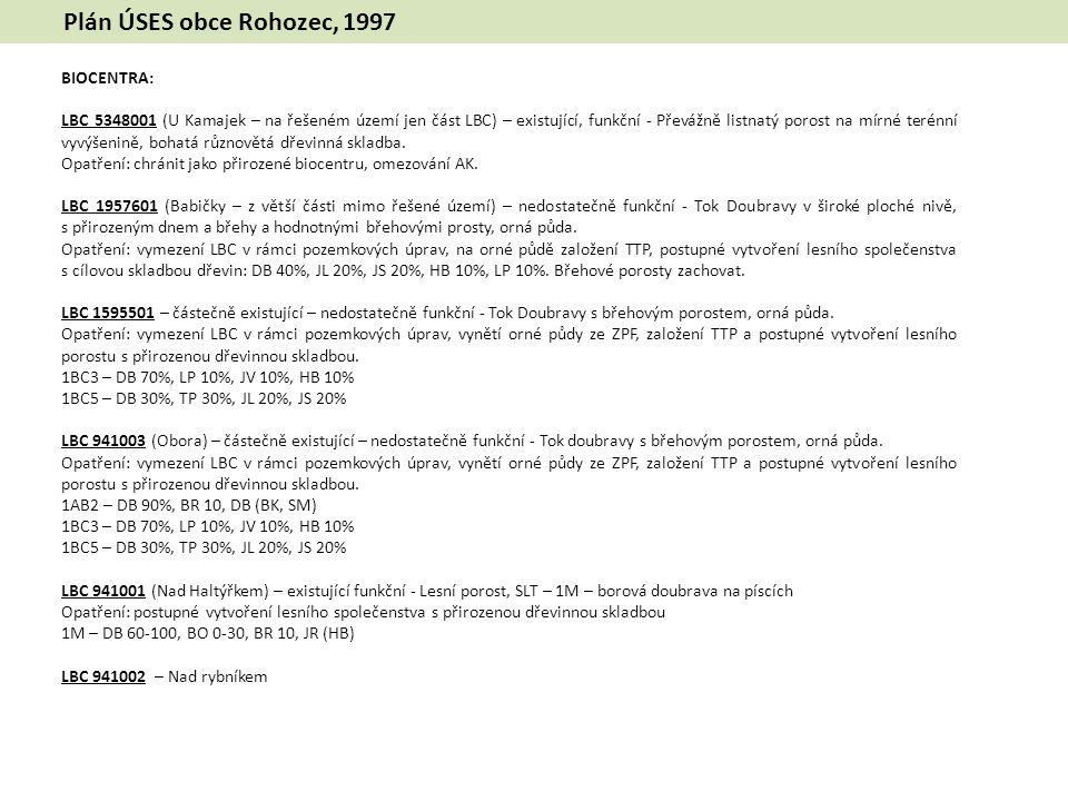 Plán ÚSES obce Rohozec, 1997 BIOCENTRA: