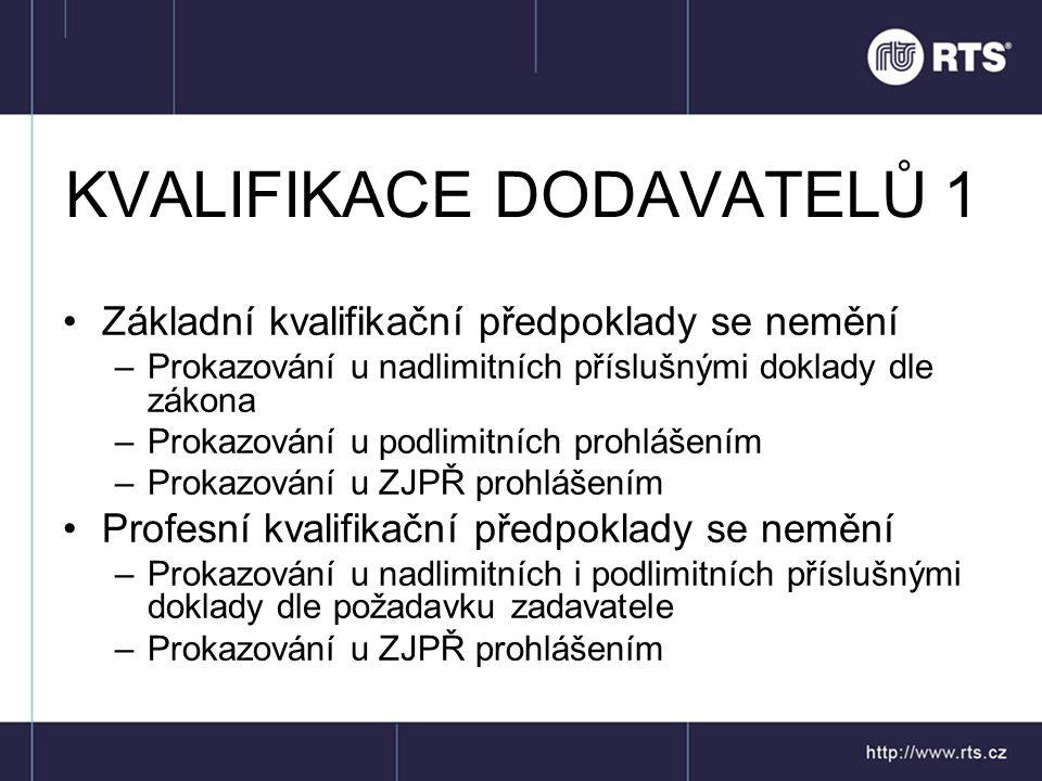KVALIFIKACE DODAVATELŮ 1