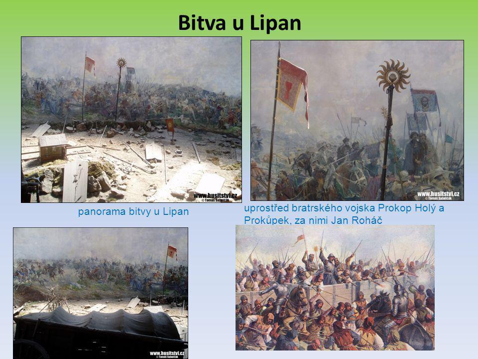 Bitva u Lipan uprostřed bratrského vojska Prokop Holý a Prokůpek, za nimi Jan Roháč.