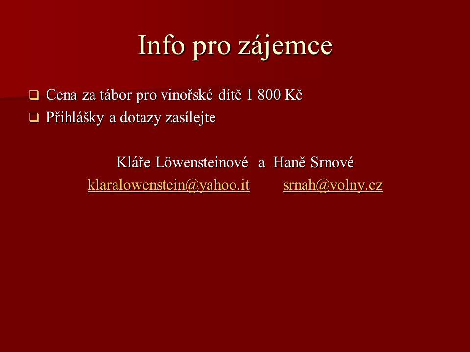 Info pro zájemce Cena za tábor pro vinořské dítě 1 800 Kč