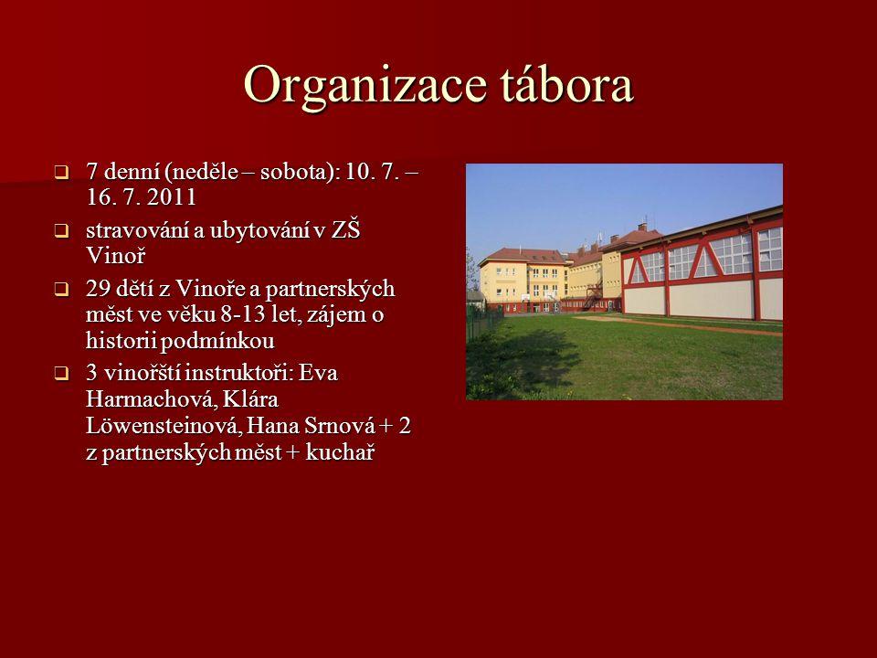 Organizace tábora 7 denní (neděle – sobota): 10. 7. – 16. 7. 2011