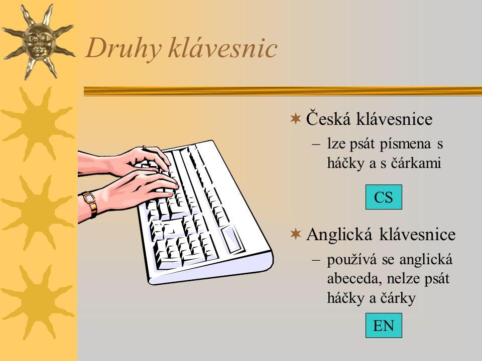 Druhy klávesnic Česká klávesnice Anglická klávesnice