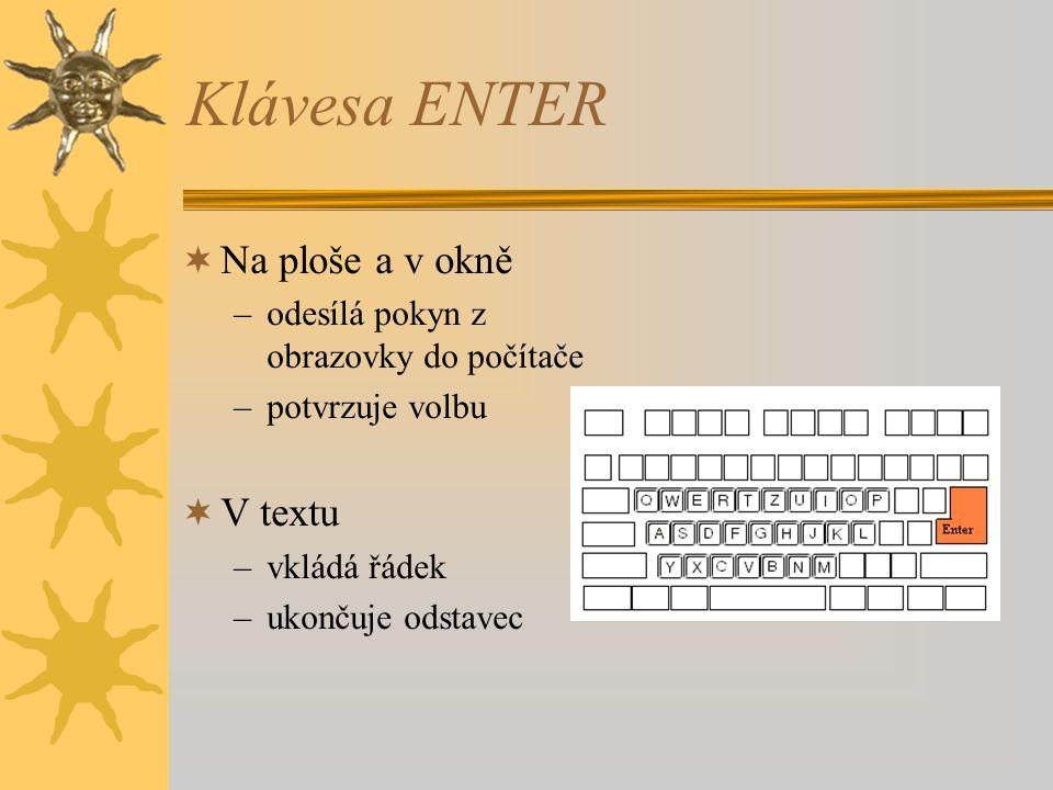 Klávesa ENTER Na ploše a v okně V textu