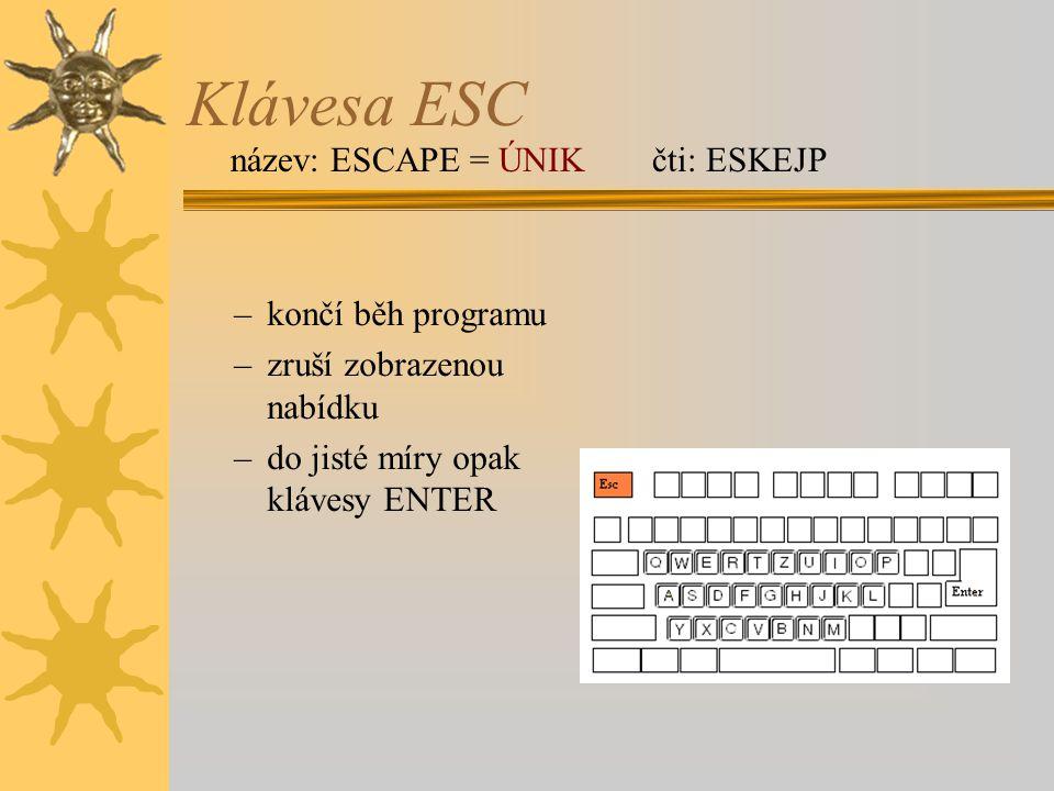 Klávesa ESC název: ESCAPE = ÚNIK čti: ESKEJP končí běh programu