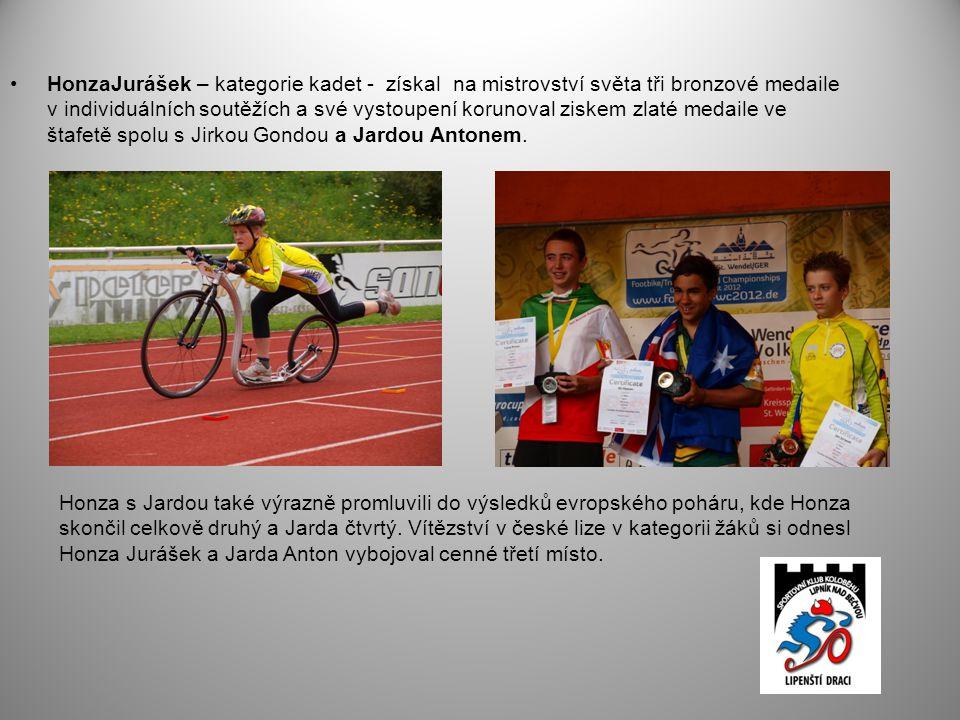 HonzaJurášek – kategorie kadet - získal na mistrovství světa tři bronzové medaile v individuálních soutěžích a své vystoupení korunoval ziskem zlaté medaile ve štafetě spolu s Jirkou Gondou a Jardou Antonem.