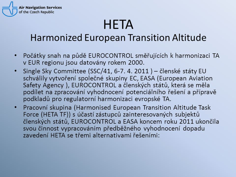 Harmonized European Transition Altitude