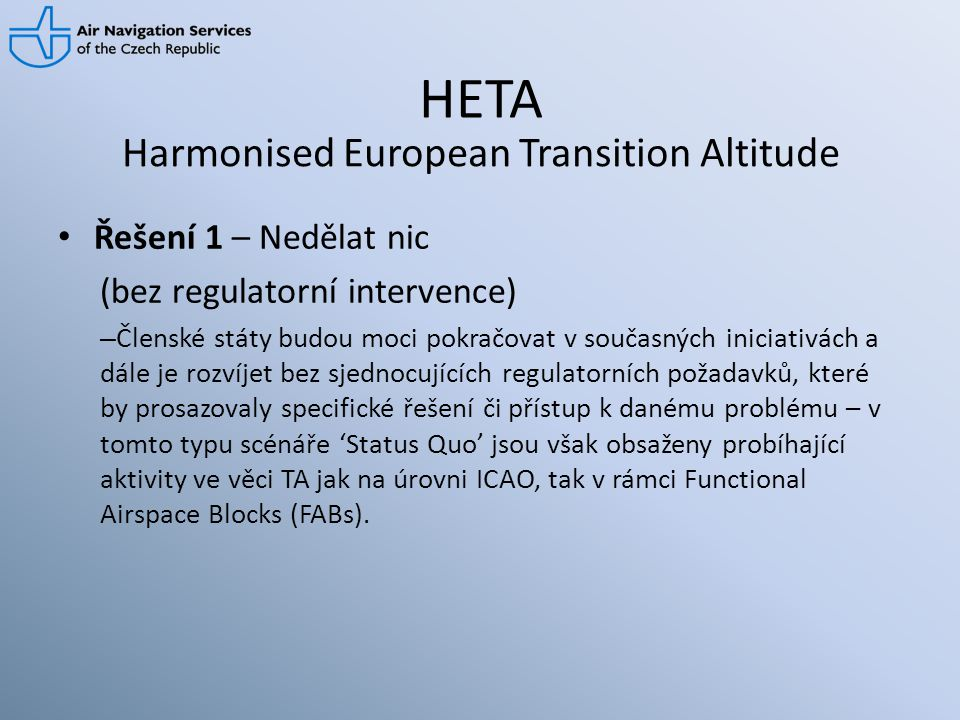 Harmonised European Transition Altitude