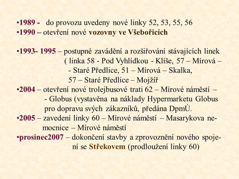 1989 - do provozu uvedeny nové linky 52, 53, 55, 56