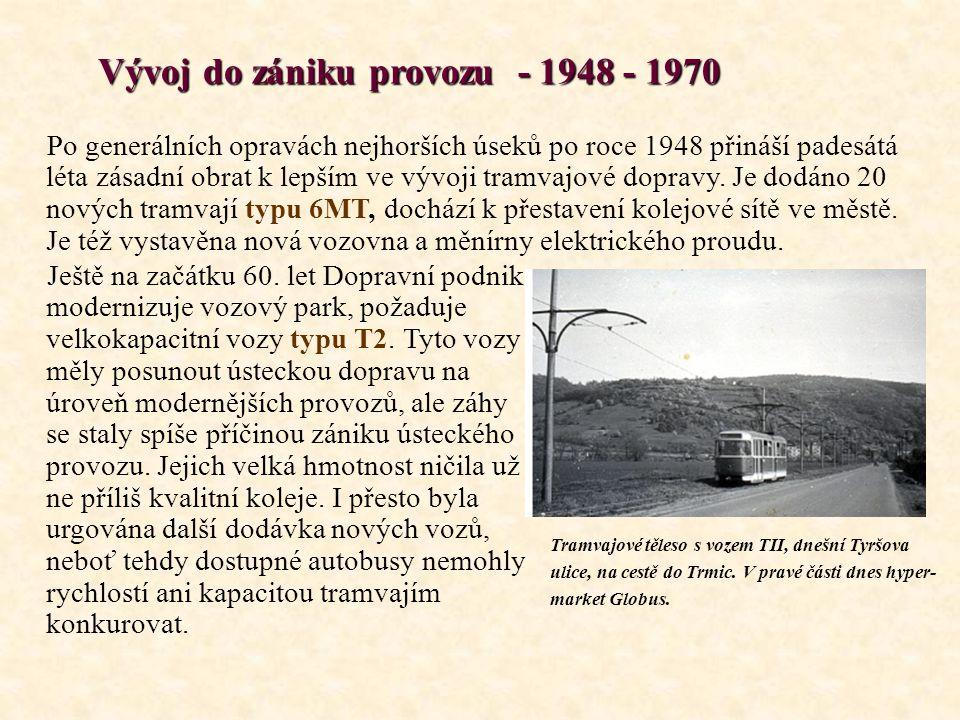 Vývoj do zániku provozu - 1948 - 1970