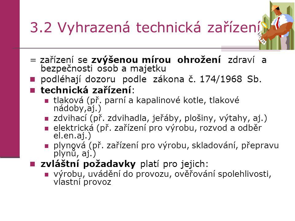3.2 Vyhrazená technická zařízení