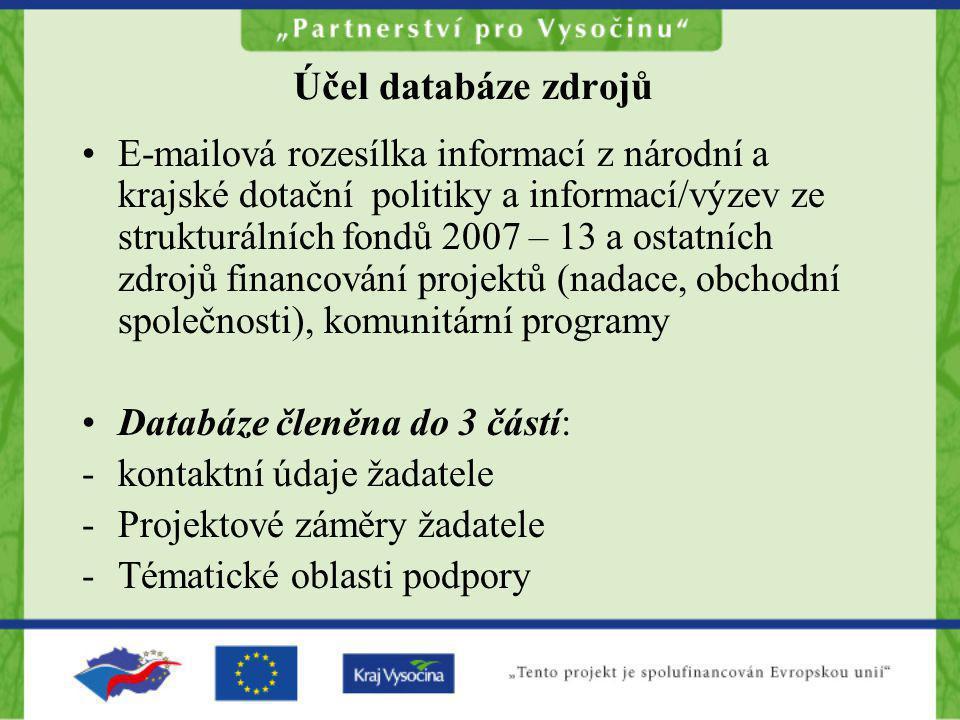 Účel databáze zdrojů