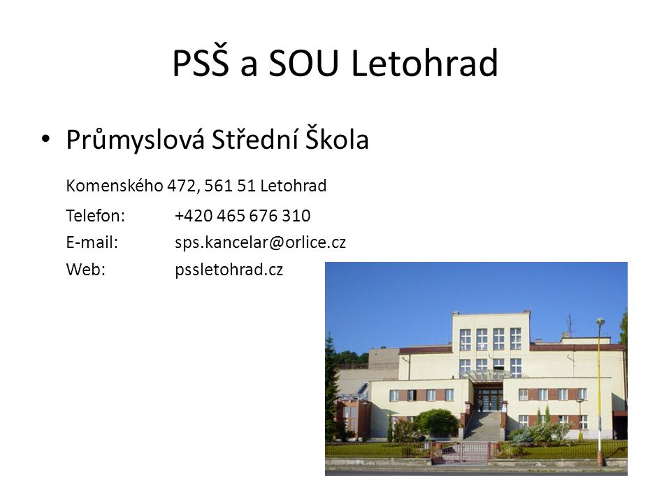 PSŠ a SOU Letohrad Průmyslová Střední Škola