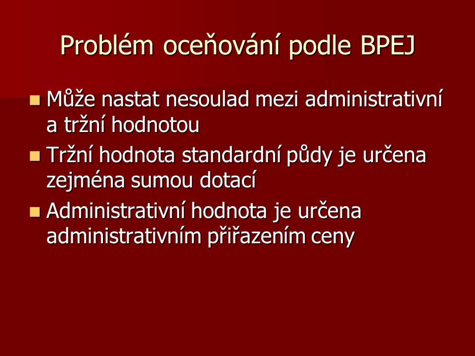 Problém oceňování podle BPEJ