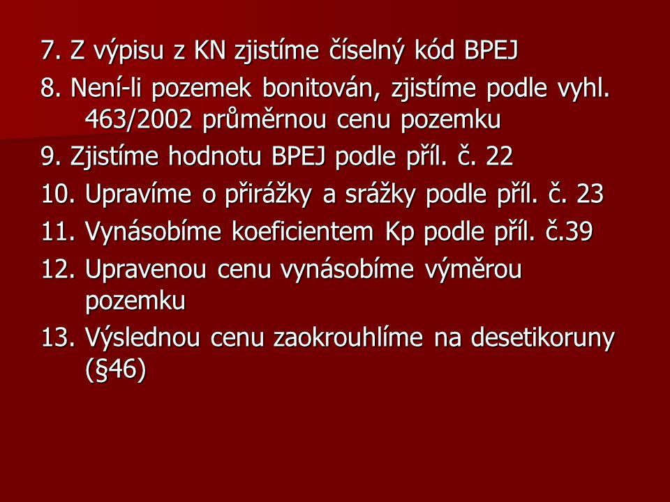 7. Z výpisu z KN zjistíme číselný kód BPEJ