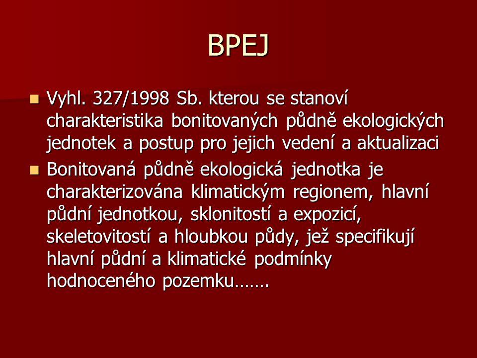 BPEJ Vyhl. 327/1998 Sb. kterou se stanoví charakteristika bonitovaných půdně ekologických jednotek a postup pro jejich vedení a aktualizaci.