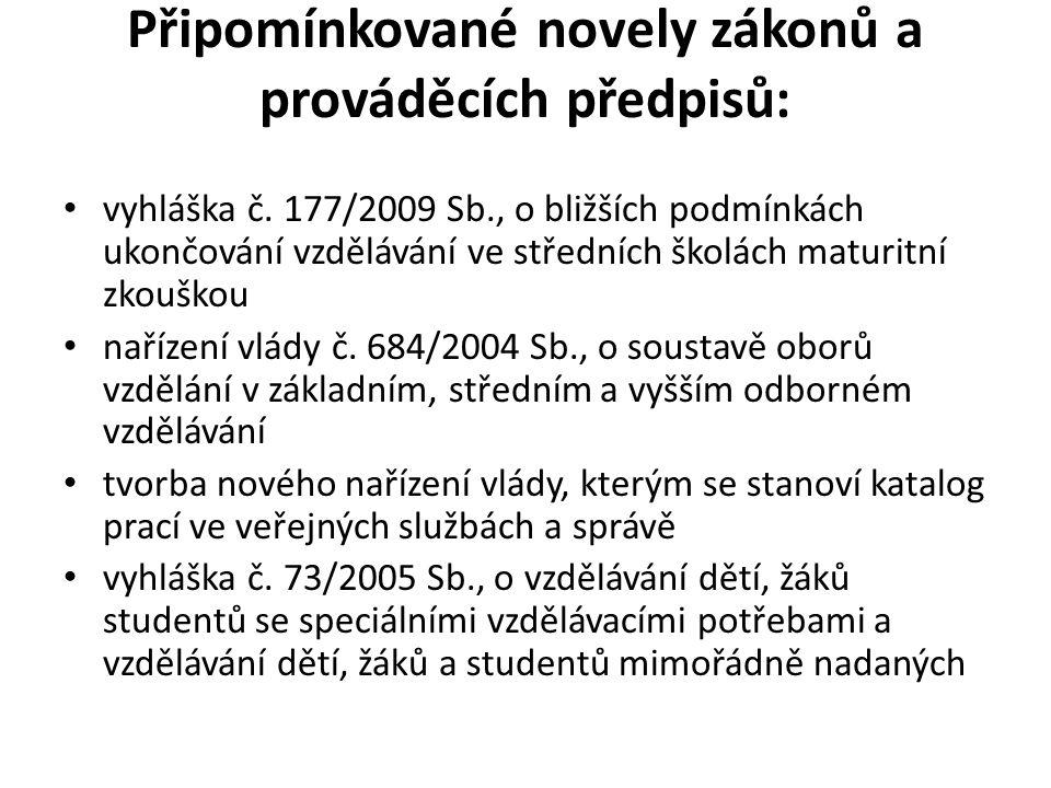 Připomínkované novely zákonů a prováděcích předpisů: