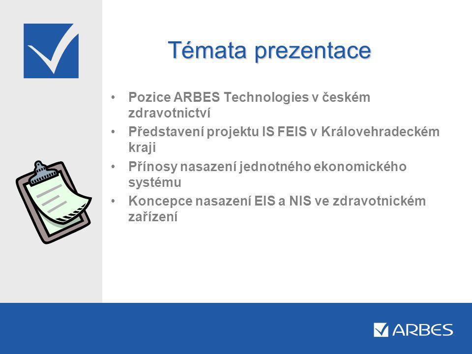 Témata prezentace Pozice ARBES Technologies v českém zdravotnictví