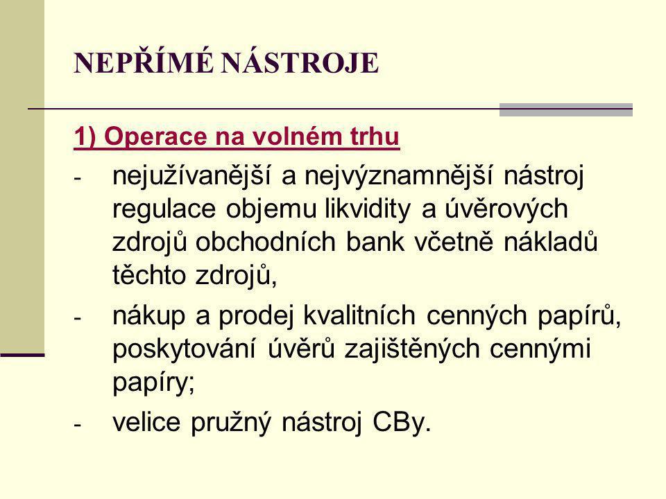 NEPŘÍMÉ NÁSTROJE 1) Operace na volném trhu.