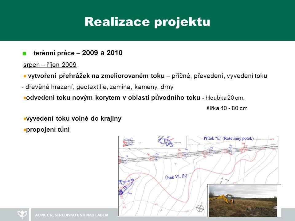 Realizace projektu terénní práce – 2009 a 2010 srpen – říjen 2009