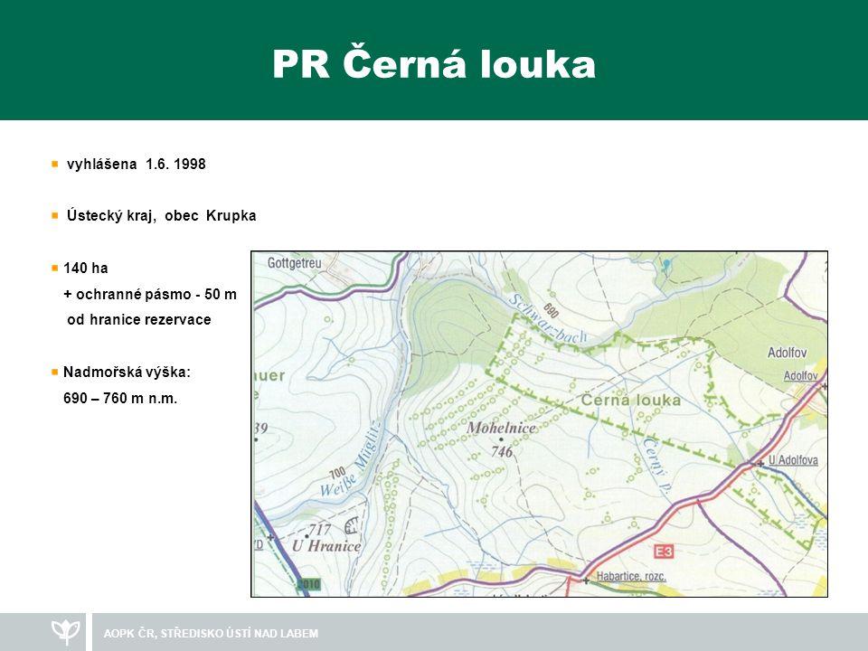 PR Černá louka vyhlášena 1.6. 1998 Ústecký kraj, obec Krupka 140 ha
