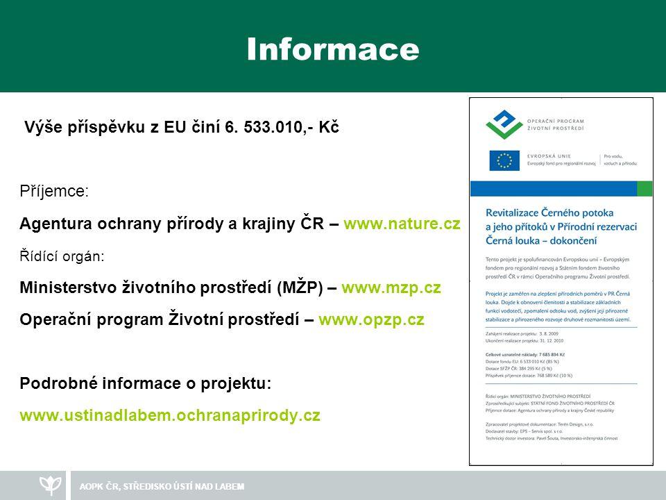 Informace Výše příspěvku z EU činí 6. 533.010,- Kč Příjemce: