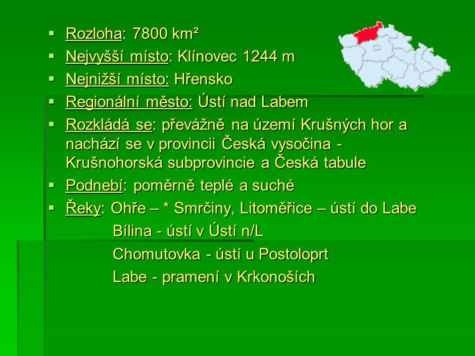 Rozloha: 7800 km² Nejvyšší místo: Klínovec 1244 m. Nejnižší místo: Hřensko. Regionální město: Ústí nad Labem.