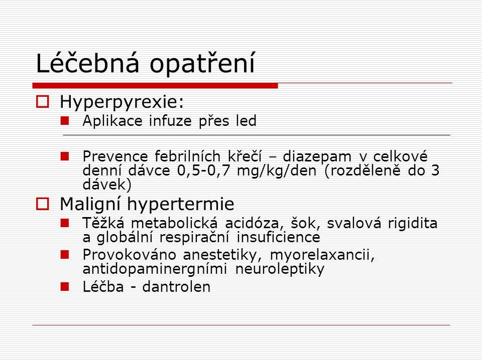 Léčebná opatření Hyperpyrexie: Maligní hypertermie