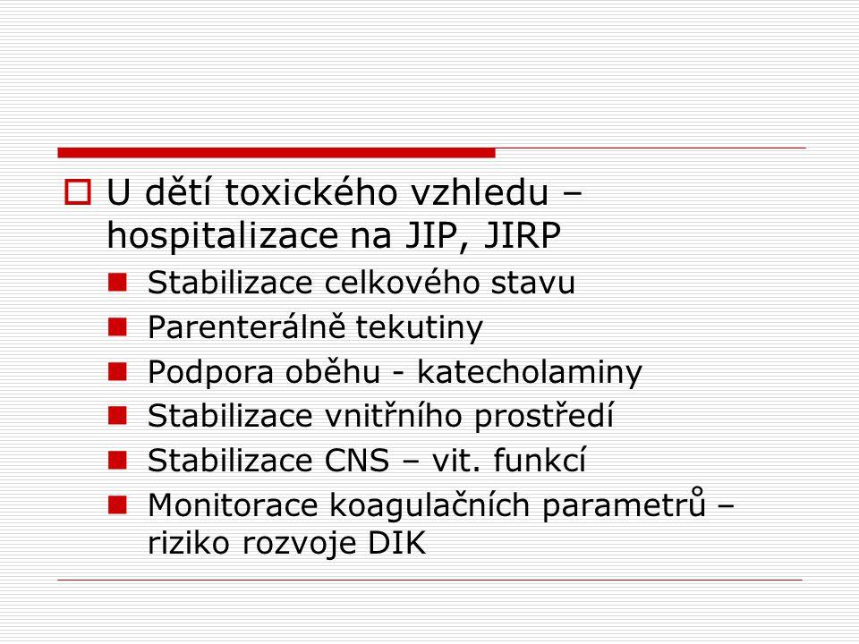 U dětí toxického vzhledu – hospitalizace na JIP, JIRP