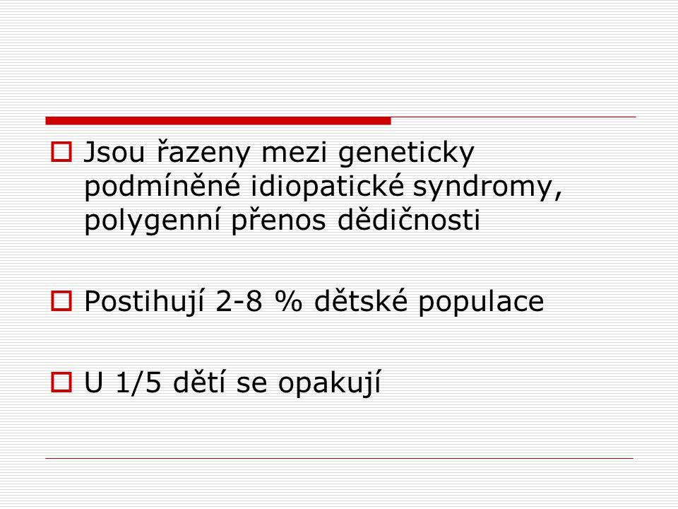 Jsou řazeny mezi geneticky podmíněné idiopatické syndromy, polygenní přenos dědičnosti