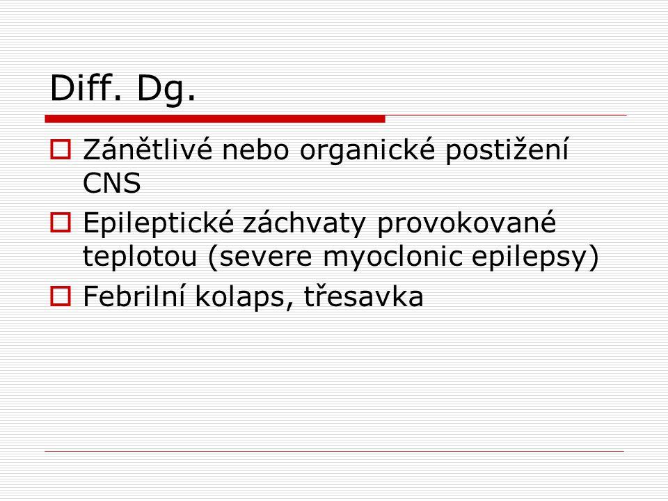 Diff. Dg. Zánětlivé nebo organické postižení CNS