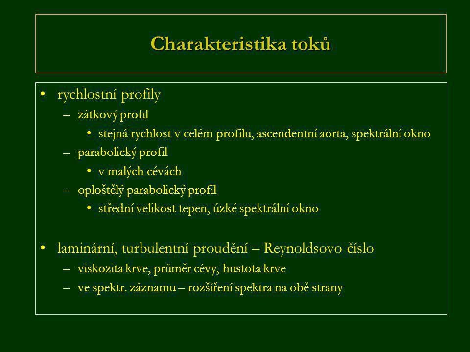 Charakteristika toků rychlostní profily