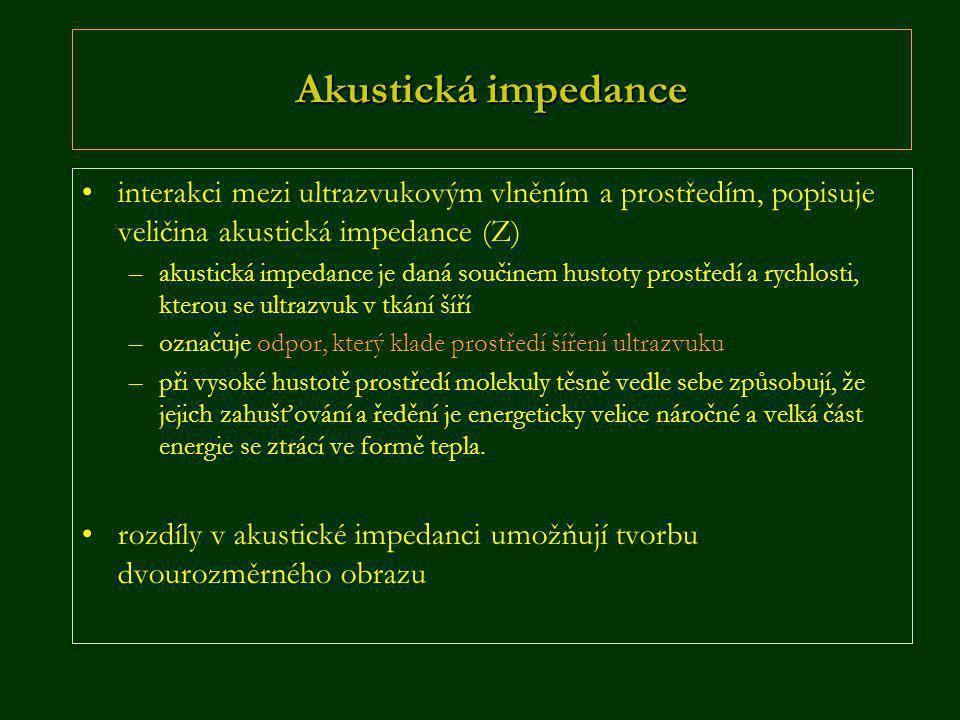 Akustická impedance interakci mezi ultrazvukovým vlněním a prostředím, popisuje veličina akustická impedance (Z)