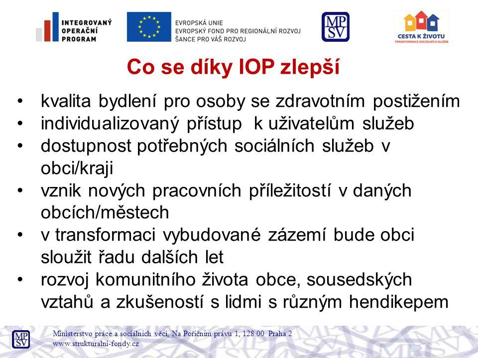 Co se díky IOP zlepší kvalita bydlení pro osoby se zdravotním postižením. individualizovaný přístup k uživatelům služeb.