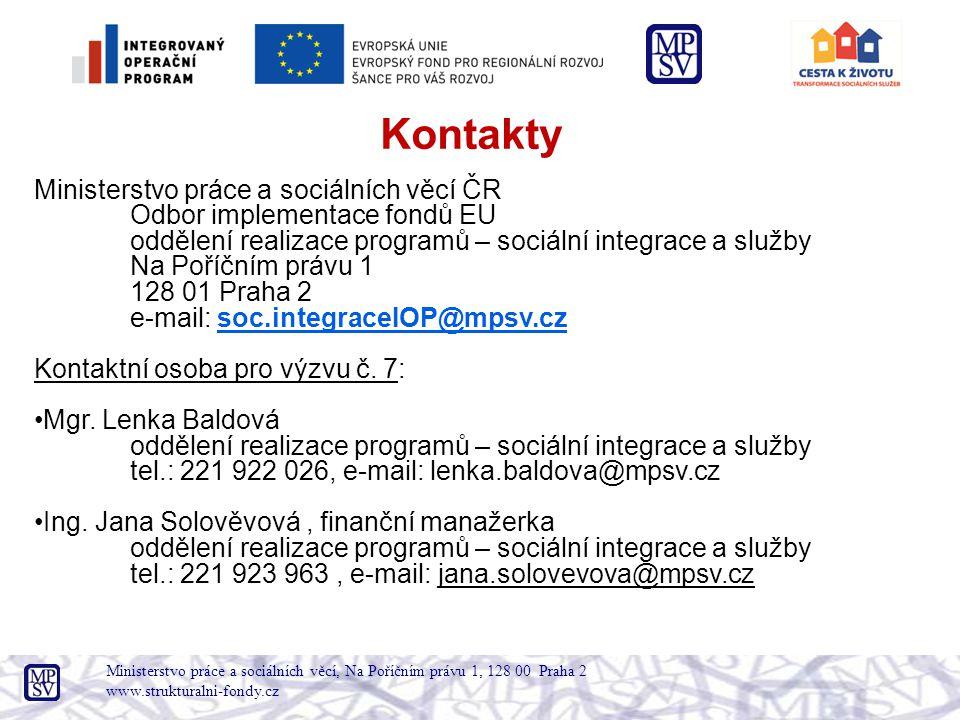 Kontakty Ministerstvo práce a sociálních věcí ČR