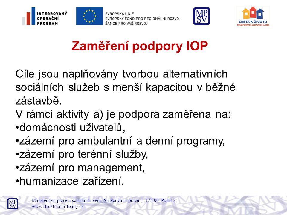 Zaměření podpory IOP Cíle jsou naplňovány tvorbou alternativních sociálních služeb s menší kapacitou v běžné zástavbě.