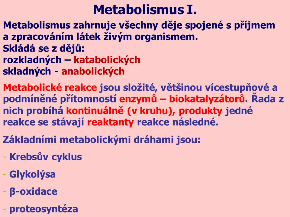 Metabolismus I. Metabolismus zahrnuje všechny děje spojené s příjmem