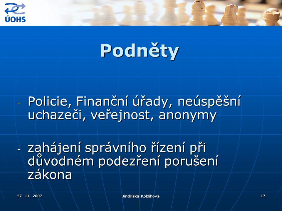 Podněty Policie, Finanční úřady, neúspěšní uchazeči, veřejnost, anonymy. zahájení správního řízení při důvodném podezření porušení zákona.