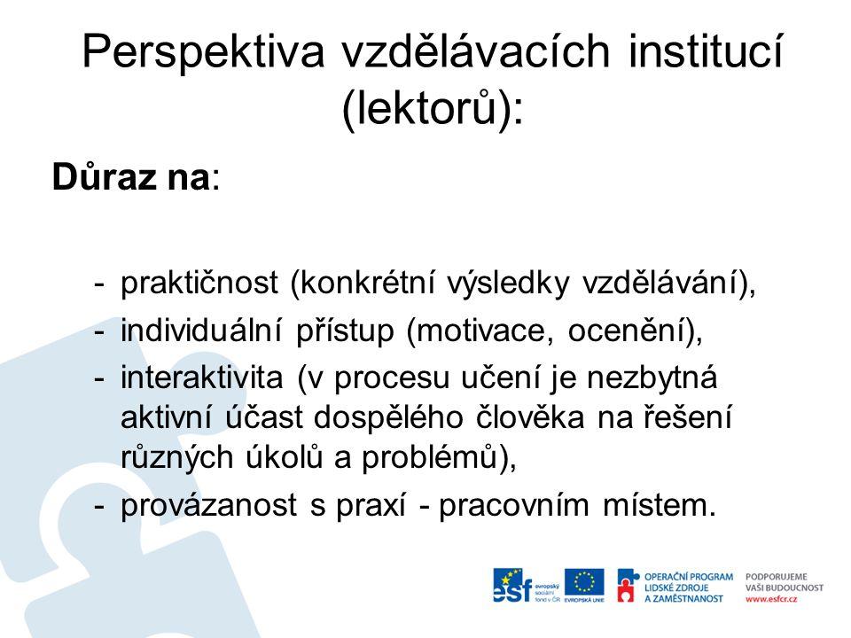 Perspektiva vzdělávacích institucí (lektorů):