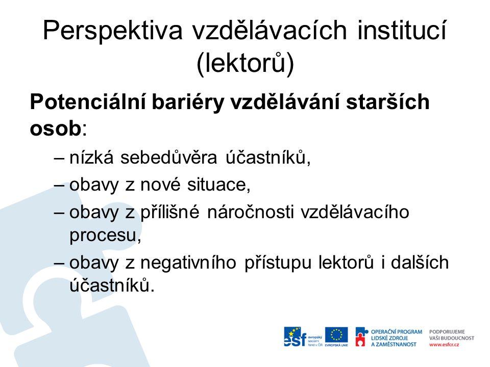 Perspektiva vzdělávacích institucí (lektorů)