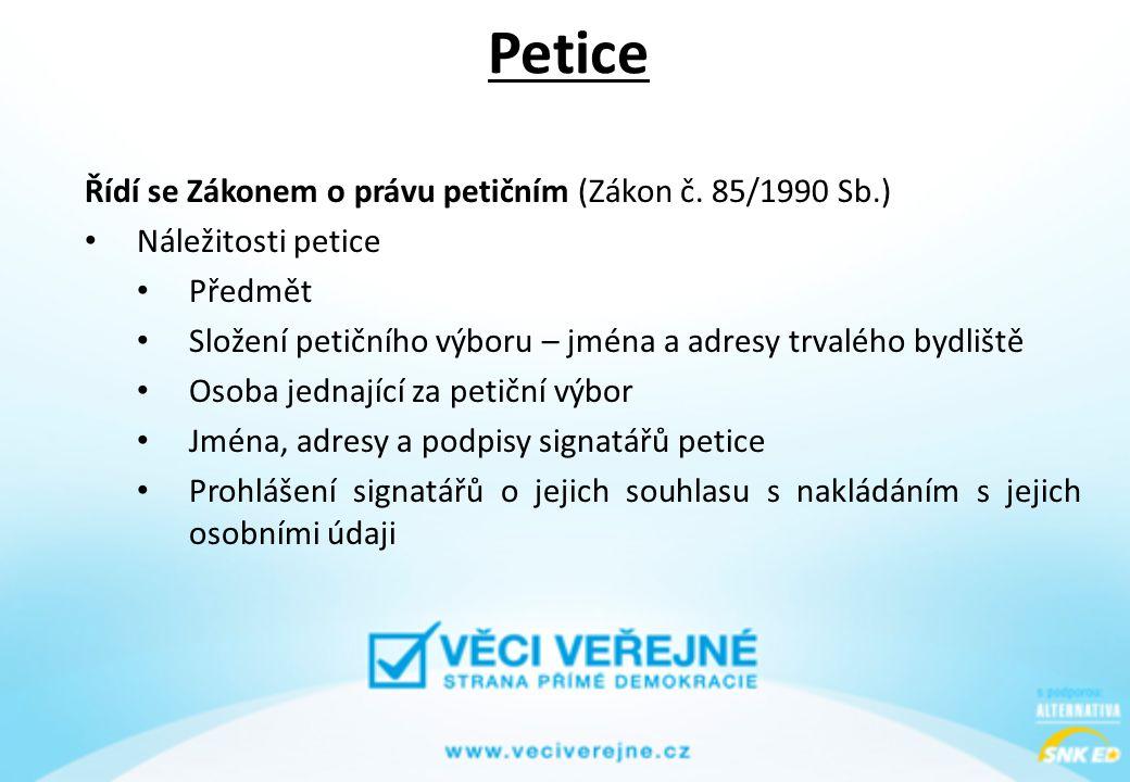 Petice Řídí se Zákonem o právu petičním (Zákon č. 85/1990 Sb.)