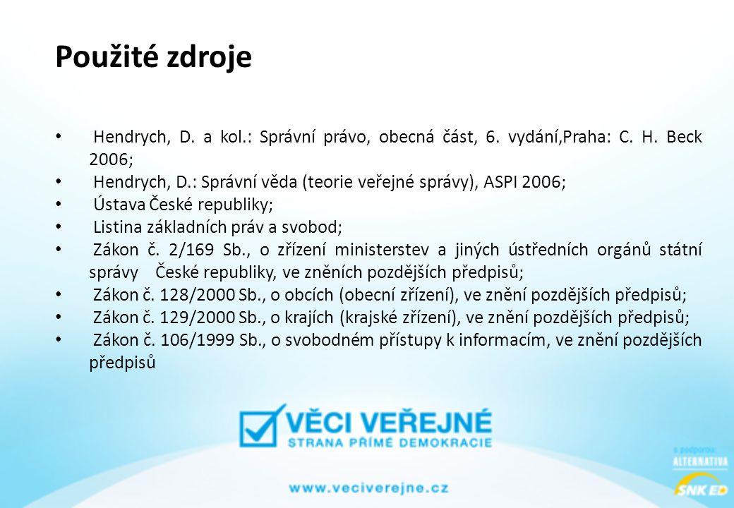 Použité zdroje Hendrych, D. a kol.: Správní právo, obecná část, 6. vydání,Praha: C. H. Beck 2006;