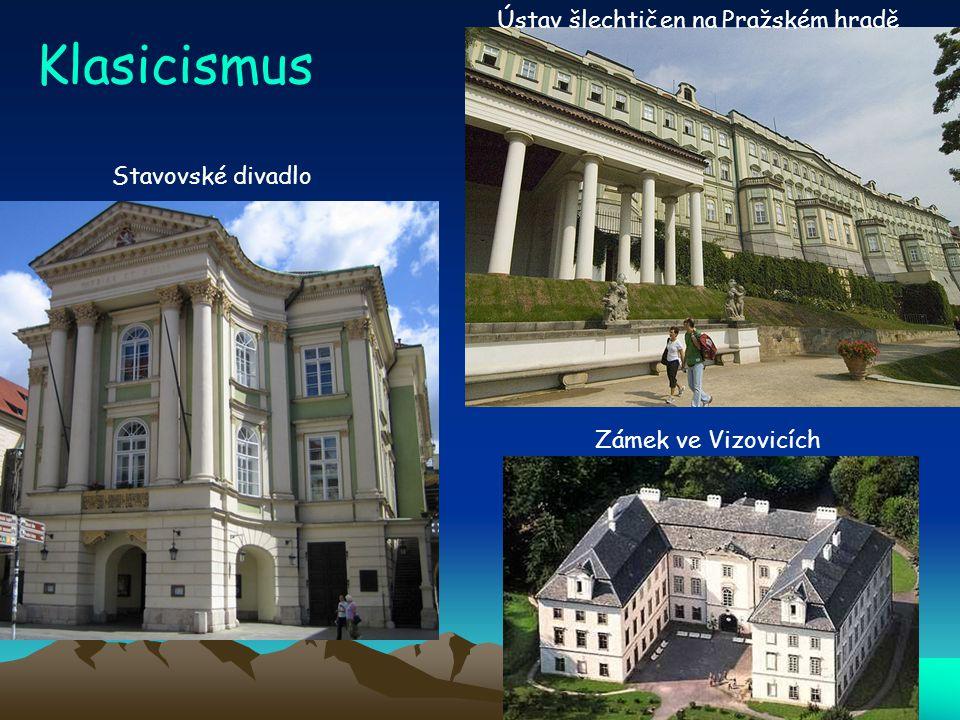 Klasicismus Ústav šlechtičen na Pražském hradě Stavovské divadlo