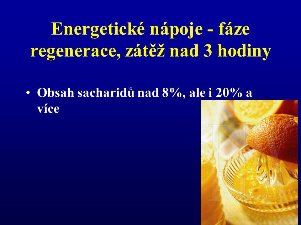 Energetické nápoje - fáze regenerace, zátěž nad 3 hodiny