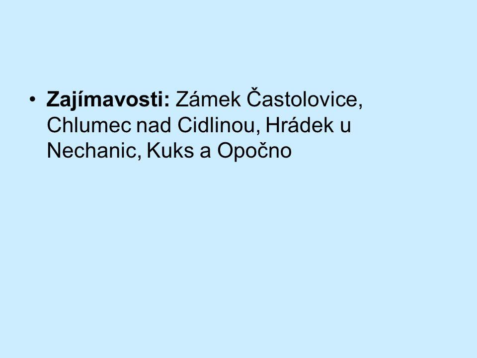 Zajímavosti: Zámek Častolovice, Chlumec nad Cidlinou, Hrádek u Nechanic, Kuks a Opočno